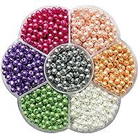 Kailusee 1050 Piezas 4mm Perlas Abalorios de Vidrio Redondos Cuentas de Perlas de Imitación con Caja de Almacenaje para Manualidades y Fabricación de Bisutería, 7 Colores, Imitaciones de Perlas
