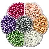 TOAOB 1050 Stück 4mm Glasperlen runde sortierte mischfarbige Perlen für Schmuckherstellung