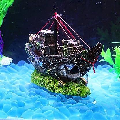 Broadroot Fish Tank Landscape Sailing Boat Shipwreck Shaped Ornament Aquarium Fish Tank Pirate Decor 4