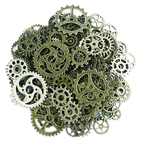 makhry 150Gramm sortiert Vintage Bronze Metall Steampunk-Schmuck zu Charms Cog Armbanduhr Rad für,, Cosplay Halloween Dekoration (Halskette Getriebe)