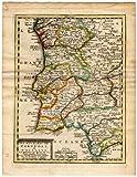 Mapa antiguo de los reinos de PORTUGAL y Algarve-de missy-de leth-1749
