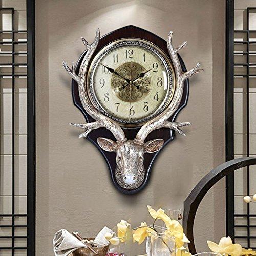Limin Europäische uhren und uhren retro deer kopf wanduhr amerikanischen wohnzimmer dekoration taschenuhr kreative stumm uhr (Color : Arabo digitale, Size : 18 inches)