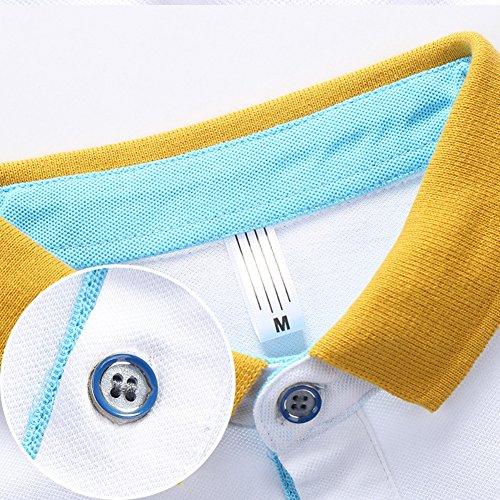 URBANFIND Herren Regul?r Gestreift Polo Hemds weiß / blau