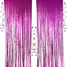 2 pcs Foil Curtains and 10 pcs Hanging Swirls, Cocodeko Metallic Fringe Curtains Shimmer Curtain Party Swirl Dizzy Danglers Decoration for Party Photo Backdrop Wedding Birthday Decor - Rose Red