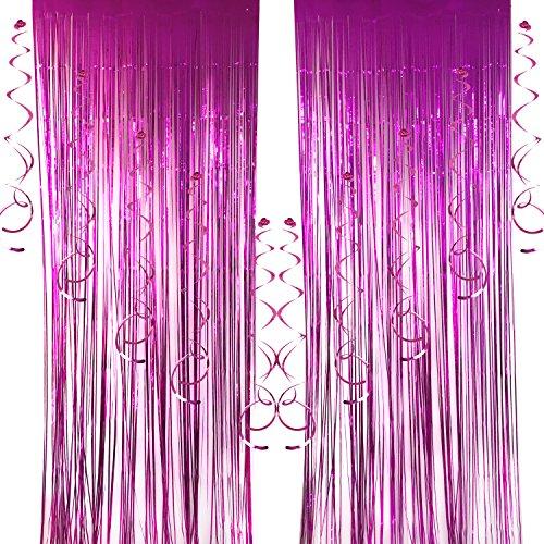 Cocodeko 2 Packung Folie Vorhang und 10 Stück Spiral Girlanden, Deckenhänger Metallic Folie Fransen Vorhänge Tür Fenster Vorhänge für Hochzeit Geburtstag Party Dekorationen - Rosa (Fenster Und Dusche Vorhang-set)