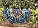 Raajsee, Telo da spiaggia o per il corpo, Adatto anche come materassino per yoga o per la meditazione, Stile boho, Rotondo, Da hippie, Colorato, Cotone, Blue Mandala, 75 inch