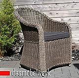 dasmöbelwerk Polyrattan Stuhl mit Sitzpolstern Rattan Stuhl Relax Sessel Gartenmöbel Gartenstuhl Panama Grau