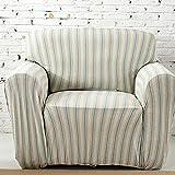 HYSENM 1/2/3/4 Sitzer Sofabezug Sesselbezug Bambus-Baumwolle unempfindlich Rutschfest Anti-Pilling, Grün+Beige 1 Sitzer 85-140cm