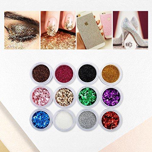 Poudre à Ongles, 12 Bouteilles Nail Glitter pour Nails Art, Paillettes Poudre Sparkling, Brillant Nail Poudre Make Up Artisanat 12 Couleurs 3D Décoration 10ML