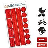 SafeKIDS Leuchtaufkleber, ROT, 13 Stück für Kinderwagen Fahrrad Helm und mehr