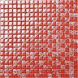 Glas Mosaik Fliesen Matte in Rot gebrochene und klare Glas Optik (MT0084)