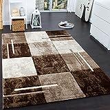 Paco Home Designer Teppich Modern mit Konturenschnitt Karo Muster Marmor Optik Braun Creme, Grösse:80x150 cm