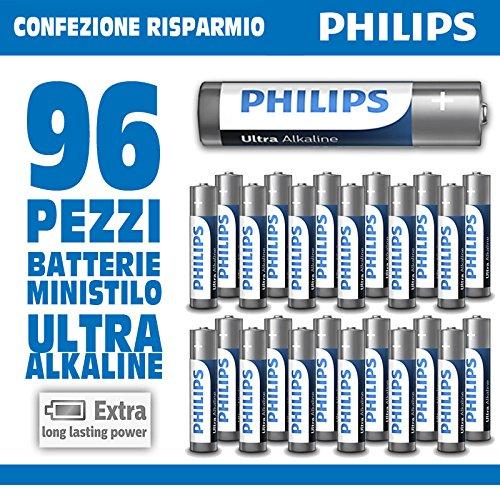Galleria fotografica Bakaji Offerta Confezione 96 Pile Batterie Philips Ultra Alkaline Ministilo AAA Lr03 Confezione Risparmio Voltaggio 1,5 V