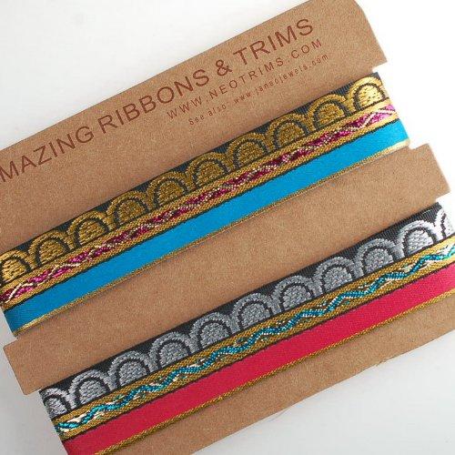 Bordüre/Zierband Brokatstoff für Näharbeiten und indische Saris, Meterware 2,2cm breites Band mit Jacquard-Mustern, Design angelehnt an den...