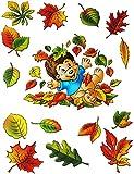 """5 tlg. Set _ Fensterbilder - """" süßer Igel """" - Herbst / Blätter - Laubblätter - statisch haftend - selbstklebend + wiederverwendbar / Sticker Fenstersticker Aufkleber - Herbstfrüchte - Fensterbild - z.B. für Fenster und Spiegel - Fensterdeko Fensterfolie Kinderzimmer Deko"""