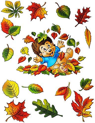 Unbekannt 3 versch. Bögen: statisch haftende Fensterbilder -  Herbst - Motive  - Blätter / Eicheln sammeln - Laubblätter / Igel / Maus / Schnecke - Pilz / Kürbis - wi.. -