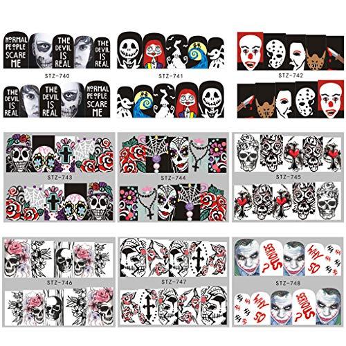 Set Halloween Nail Sticker Tatoos Schwarz-weißer Schädel Element Halloween-Nagel-Verpackungs-Aufkleber ()