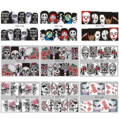 MUANI 25 Blatt/set Halloween Nail Sticker Tatoos Schwarz-weißer Schädel Element Halloween-Nagel-Verpackungs-Aufkleber