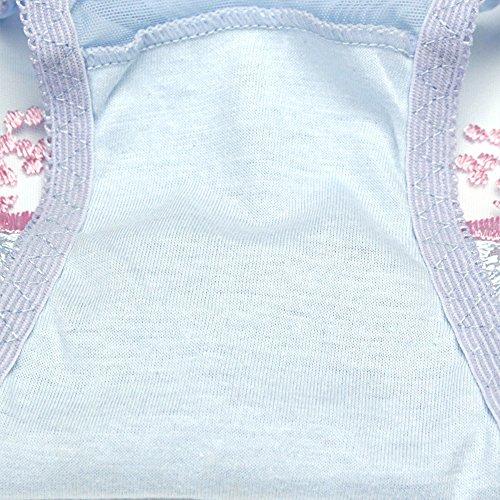 Eastlion 5 Pack Damen Spitze Stickerei Slips Schlüpfer Unterwäsche Shorts, Einheitsgröße Hell Grau Leaf