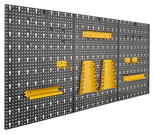 Dreiteilige Werkzeugwand aus Metall mit 17tlg. Hakenset, ca. 120 x 60 x 1,5 cm von Vitaerc Regal,perfektes Wandregal oder Erweiterung für Ihre Werkbank