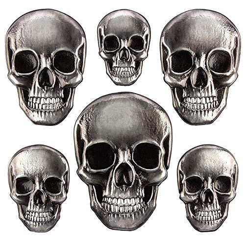 Sticker | Aufkleber | Abziehbilder | Stickerbögen mit diversen Motiven | Halloween | Bogengröße 18 x 17,5 cm (Totenkopf metallic)