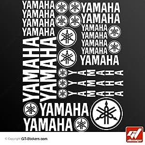 Stickers YAMAHA - BLANC - Planche XXL de 27 Stickers , adhésifs, autocollants, gt-design
