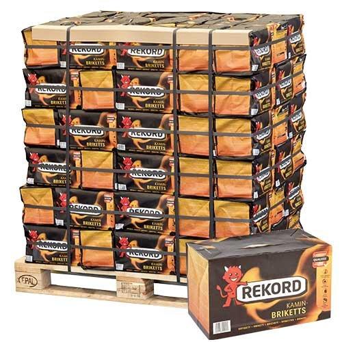 PALIGO Braunkohle Briketts Kohle Heiz Brikett Kamin Ofen Rekord Bündel 10kg x 90 Gebinde 900kg / 1 Palette Heizfuxx