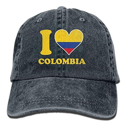 Preisvergleich Produktbild Presock I Love Colombia Flag Unisex Adjustable Baseball Caps Denim Hats Cowboy Sport Outdoor