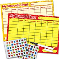 Funky Monkey House 2 x Re-usable Reward Chart, (including FREE Star Stickers and Pen) - red/yellow, yellow stars