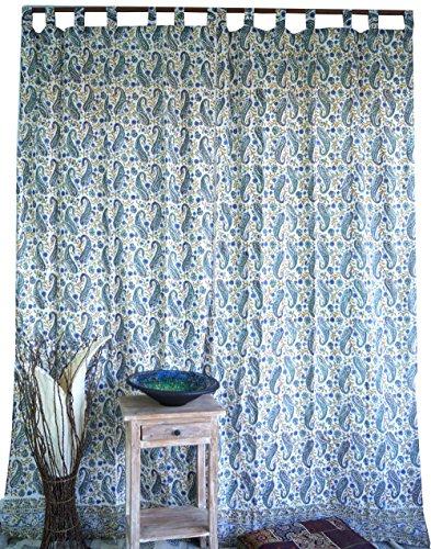 Guru-Shop Dünner Vorhang, Gardine (1 Paar Vorhänge, Gardinen), Handbedruckt, Paisley Design, Baumwolle, Länge: 250 cm, Dekovorhänge