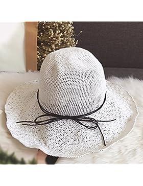 LVLIDAN Sombrero para el sol del verano Dama SolAnti-Sol Playa pescador sombrero de paja blanca plegable