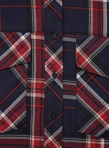 oodji Ultra Damen Karo-Hemd mit Brusttaschen Blau (7945C)