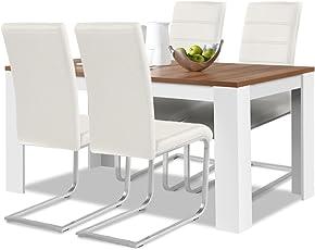 Agionda® Esstisch + Stuhlset : 1 X Esstisch Toledo Nussbaum/Weiss 120 + 4