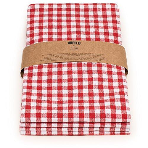 Pack Rot/Weiß kariert (Farbe und Design wählbar) 45 x 45 cm - Stoffserviette aus 100% Baumwolle im skandinavischen Landhausstil ()