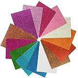 Hoja de Goma eva con Purpurina 8x12 Pulgada-2 mm Tamaño A4 grueso para actividades de manualidades para niños Cortadores de bricolaje Art-21x30cm (Multicolor) (14 pcs)