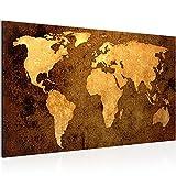 Bild Weltkarte World Map Wandbild Vlies - Leinwand Bilder XXL Format Wandbilder Wohnzimmer Wohnung Deko Kunstdrucke Braun 1 Teilig - MADE IN GERMANY - Fertig zum Aufhängen 101714a