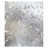 Sodial(R) Premium No Glue 3D Static Decorative Frosted Privacy Window Films For Glass,17.7-By-39.3 Inches(45 X 100Cm)