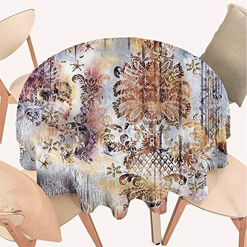 Petpany Rouge Tischdecke, rund, 36 cm, dekoratives Muster, wasserabweisend, knitterfrei und fleckenabweisend, für Küche