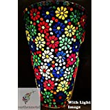 Earthenmetal Handcrafted Multicoloured Flower Design Glass Wall Lamp/Decorative Light