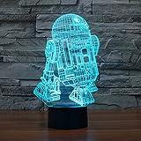 R2D2Roboter 3d stereoskopische buntes Schalter der Nacht Tischleuchte LED-Lampe USB-Pad angenehm leicht, und produziert einzigartige Lichteffekte und 3d Visualisierung–Erstaunliche Illusion