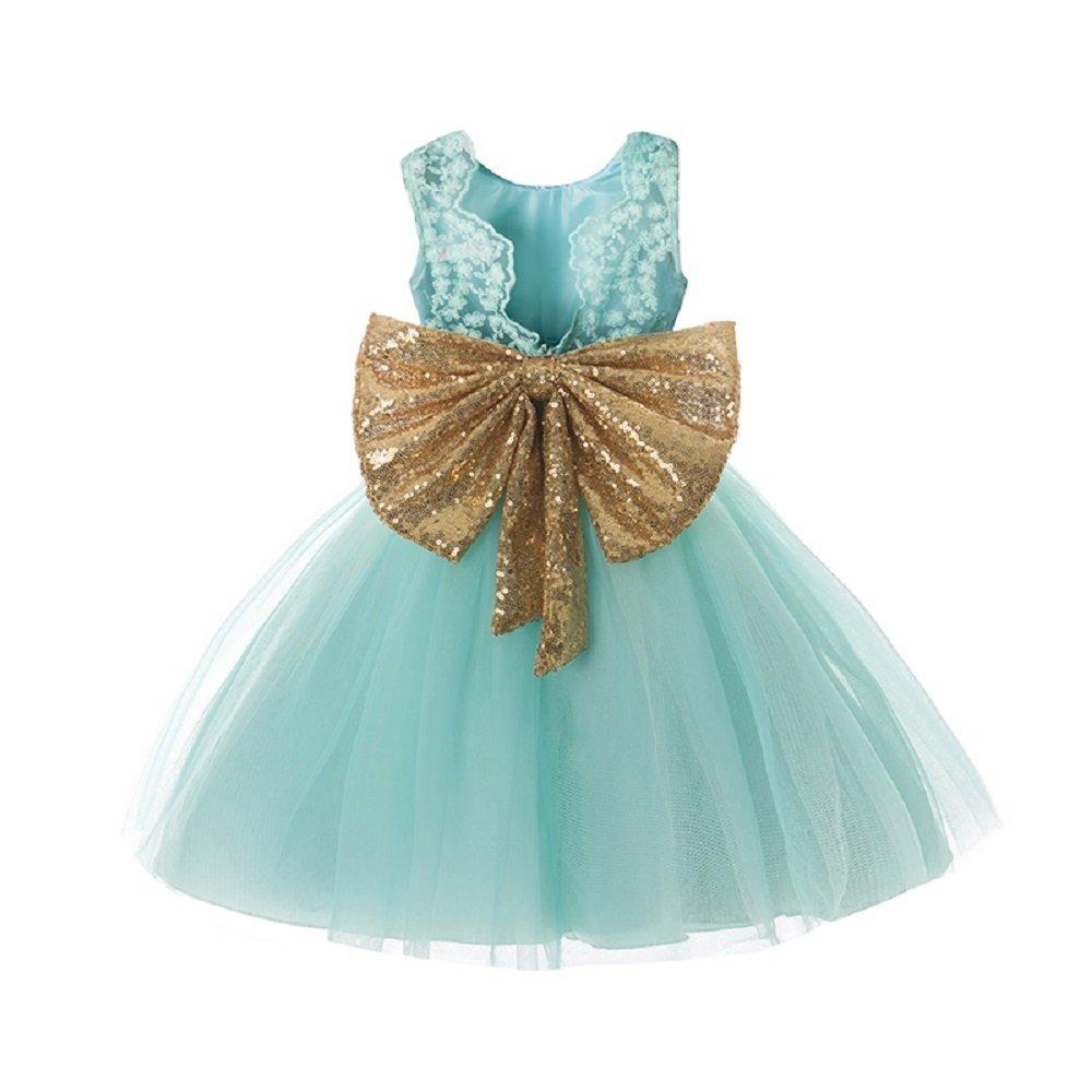 380bb89983a1 Green   Golden Bow Toddler Baby Girl Dresses Fluffy Tutu Wedding ...