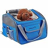 Perrory Autositz für Hunde Hunde Tasche Hundebox Transportbox Hund Transporttasche mit Tragegriffe Katze faltbar Oxford Gewebe Hundetasche Atmungsaktiv Netzfenster geeignet für kleine Hunde Katzen und Häschen z.B. Chihuahua(Rosa/Grau/blau), 47*26*30cm