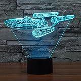 Smalody Star Trek USS Enterprise 3D LED Lumière de Nuit Décoration Lampe 7 Couleur...