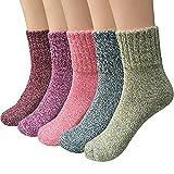 ToullGo Damen Winter Socken,Wolle Socken,Warme Dicke Stricksocke,Baumwollsocken Bunte Farben Einheitsgröße Atmungsaktiv Weich 5er Pack Weihnachtsgeschenk