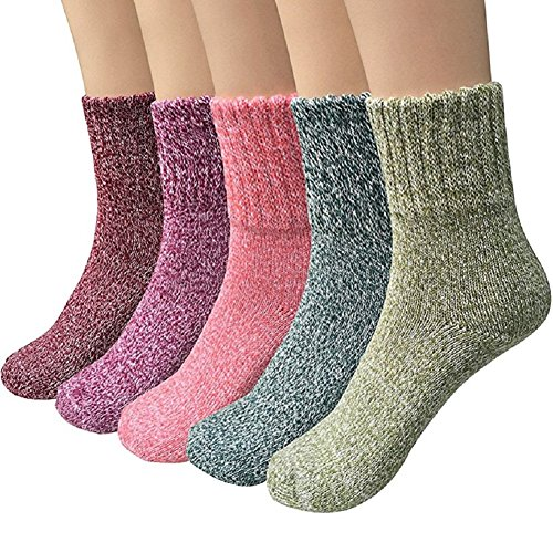 ToullGo Damensocken,Wollsocken, Gestrickte Socken,Warme Dicke Bunte Farben Wollsocken - 5 Paar Wollsocken Stricksocken Winter Damensocken Thermosocken Socken -
