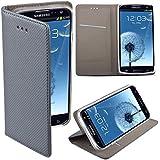 Moozy® Flip cover Funda tipo libro Smart magnética con Stand plegable para Samsung i9300 Galaxy S3 / S3 Neo i9301 en el soporte de silicona, Gris Frc