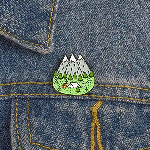 Kissherely Creative Mountain Tent Emaille Pins Neuheit Grüner Wald Brosche Pin Badge Reise Geschenke für Frauen und Männer -
