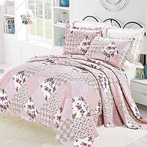 Luxury Vintage Floral 3 Piece Quilted Embroidered Patchwork Bedspread Throw Set Comforter Pillow Case Single,Double, King (Super King ( 250 x 270 CM), Pink /