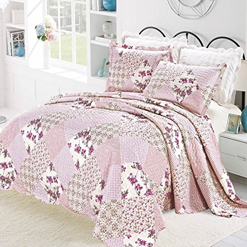 IMPERIAL ROOMS 3 piece Embroidered Patchwork Quilted Bedspread Beautiful Floral Luxury Bedding sets Throw sets Pillows Comforter Set King / Pink Include 1 Bedspread & 2 Pillow shams