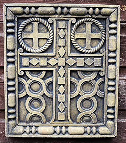 Gothic cross stone wall plaque copy of Oak panel (sandstone)